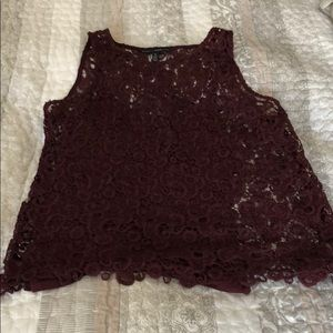 Burgundy lace WHBM top